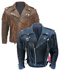Mens Black Motorcycle Motorbike Cowboy Tassel Fringe Cruiser Leather Jacket