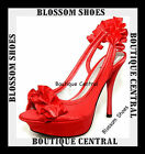 WOMEN SHOES RED SATIN RUFFLES SLING BACK HIGH HEELS PARTY/EVENING Sz 6.5 7.5 8.5