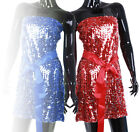 New Ladies Sequin Evening Party Mini Dress Top Tunic Sizes 8 10 12 Tops 2576C