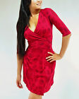 Organic Cotton Wrap Raspberry Red Umbrella Print Dress Global Girlfriend S M L X