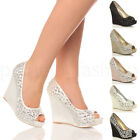 WOMENS WEDDING PLATFORM WEDGE LADIES BRIDAL SANDALS EVENING PROM SHOES SIZE