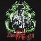 Bruce Lee Twin Dragons T-Shirt Black Martial Arts Yin Yang Nunchucks BABA