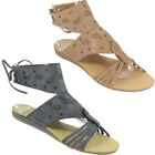 LADIES BLACK BROWN ANKLE CUFF LACE FLAT OPEN STRAPPY SANDALS SIZE 3-8