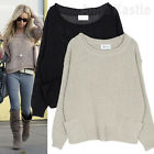 AnnaKastle New Womens Rolled Crewneck Side Pockets Cropped Sweater Pullover sz S