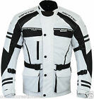 CE Armoured - Mens White Motor Cycle Bike Wind/Waterproof Cordura Racing Jacket