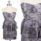 Vintage Sexy Strapless Destroyed Washed Mini Dress Ruffle Cotton Spandex S M L