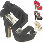 NEW WOMEN'S EVENING PARTY STRAPPY HIGH HEEL PLATFORM SANDALS/SHOES IN UK 3-8
