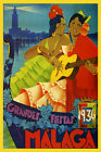 Malaga Spain Girls Guitar Player 1936 Travel Tourism Vintage Poster Repo FREE SH