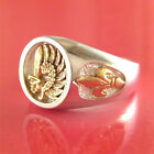 French Foreign Legion Ring - Fleur Di Lis Sides - 14K & Sterling (#30)