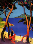 French Riviera France Beach Travel Tourism Europe Vintage Poster Repro FREE S/H