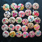 30 pcs 2 Hole 18mm Painting Wood Buttons Sewing Mixed color Cloth 3/4 inch