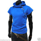 THELEES (4BS) Mens casual buckle zipper slim hoodie T-shirts 5 COLOR
