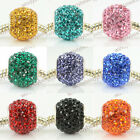 SOLID CRYSTAL STERLING SILVER CORE LARGE HOLE BALL CHARM BEAD FIT BRACELET 1PC