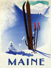 MAINE Ski Winter Race Sport Skis Alps Mountain Vintage Poster Repro FREE S/H