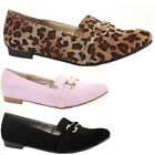 Womens Work Pumps Flat Low Heel  Smart Loafer Ballerinas Slip On Shoes Size