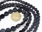 Natural Blak Onyx Gemstone Flat Round Coin Loose Beads 15'' 6mm 8mm 10mm 12mm