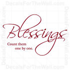 Blessings Count Them By One God Wall Decal Vinyl Art Sticker Quote Decor R23