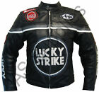 """LUCKY STRIKE"" New Black/Gun Metal Leather Motorcycle Jacket - All sizes!"