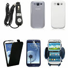 Samsung Galaxy S3 i9300 Leather Case, Screen Protector, Car Charger & Holder