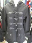 URBAN DIVA LADIES GIRLS BLACK FLEECE HOODED DUFFLE COAT JACKET SIZE 8 10 12 14