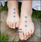 LIGHT CADBURY PURPLE  Barefoot Sandals  Swarovski Crystals beach bridal jewels