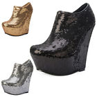 New Womens Shimmer Sequined Wedge Platform Heel Ladies Ankle Boots Party Shoe UK