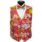 Red Hawaiian Floral Tuxedo Vest and Bowtie