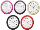 NEW WALL CLOCK WITH ANALOGUE DISPLAY PLASTIC BLACK RED HOT PINK PURPLE CREAM