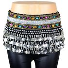 Belly Dance Hip Scarf Skirt Wrap Silver Coins Band Gemstone Jeweled Stone Velvet
