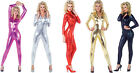 ADULT METALLIC UNITARD STRETCH JUMPSUIT SILVER GOLD BLACK CATSUIT COSTUME ZENTAI