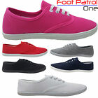 NEW GIRLS LADIES CANVAS PUMPS FLAT HEEL SCHOOL PLIMSOLLS TRAINERS UK SIZE 3 - 8