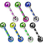Titanium Anodised Over Surgical Steel Duo-Tone Barbell / Tongue / Nipple Bar