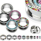 Surgical Steel Crystal Rimmed Screw Fit Ear Stretcher Flesh Tunnel / Plug