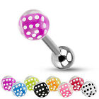 Surgical Steel Barbell / Tongue Bar with a Dice Set Inside a Bubble Ball