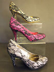 LADIES GLITTER WITH LACE OVER LAY COURT SHOES ( ANNE MICHELLE L2232)
