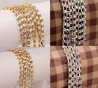 Free ship 1Meter AB golden/silver Clear Crystal Rhinestone 4mm Close Chain
