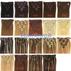 "Lot Full Head 16""18""20""22""24""26"" Clip in 100% Remy Real Human Hair Extensions"