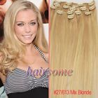 """Free Ship~15""""-22"""" Clip In Remy Human Hair Extensions #27/613 Mix Blonde HOT HSME"""