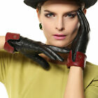 Nappa leather Gloves Thinsulate+ Fleece lined contrast piping Gold Plated Logo