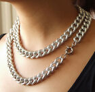 "CHUNKY TEXTURED SILVER ALUMINIUM CURB LINK CHAIN NECKLACE 17MM WIDE 18"" 24"" 38"""