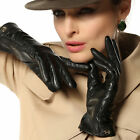 Women's winter genuine nappa leather Ruched Gloves folds Gold Plated Logo