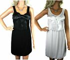 NEW LADIES BLACK or WHITE BOW PARTY DRESS GREAT VALUE! Size 10 - 16
