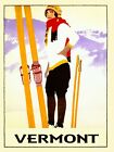 Vermont Lady Skis Ski Winter Sport Skiing Vintage Poster Repro FREE SHIP in USA