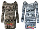 Womens Tribal Aztec Print Bodycon Dress Ladies Long Sleeve Tunic Top 8 10 12 14