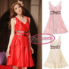 Elegant V neck Bow A-line Mini Cocktail Bridesmaid Prom Frock Dress UJ8223
