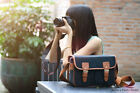 Vintage canvas Leather camera bag Messenger bag for DSLR Camera and lens 03-035