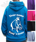 HORSE HOODIE, PONY HOODIE, PERSONALISED GIFT, Children's & Adult's HORSE HEAD