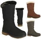NEW WOMENS LADIES BLACK CALF FUR FLAT GOOD HARD SOLE WINTER RAIN SNOW BOOTS 3-8