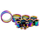 Rainbow Anodized Steel Earlet Gauge Flesh Tunnel Ear Plug PAIR CHOOSE YOUR SIZE