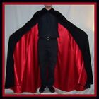 DRACULA Christopher Lee Black Fine 100% WOOL Mens Cape Red Lining Collar Vampire
